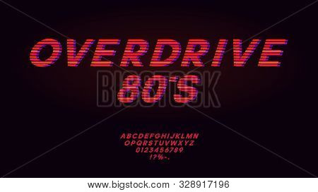 Retrowave Synthwave Red Font Design In The Style Of 1980s. Striped English Letters, Numbers And Symb