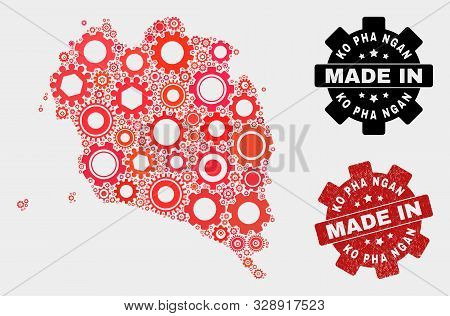 Mosaic Industrial Ko Pha Ngan Map And Scratched Seal. Vector Geographic Abstraction In Red Colors. M