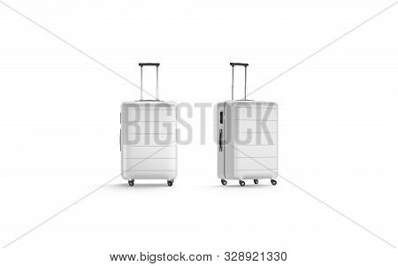 Blank White Luggage With Handle Mock Up Stand Isolated, 3d Rendering. Empty Carryon For Travel Mocku