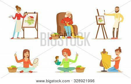 People Of Creative Professions And Hobbies Set, Sewing, Embroidering, Knitting, Painting Vector Illu