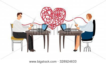 Love Affair At Work Vector Illustration. Colleagues Are In Love, Male Female Managers Characters