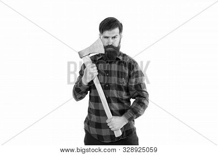 Brutal And Bearded. Brutal Lumberjack Hold Axe Isolated On White. Hipster Keep Sharp Axe Blade At Be