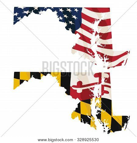 Maryland With Usa Flag And Maryland Flag Embedded Isolated Vector Illustration