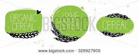 Set Of Organic Cereal, Love Cereal Set Symbol Or Sticker. Green And Black Hand Drawn Style
