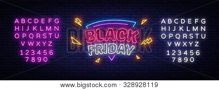 Black Friday Sale Neon Sign Vector. Black Friday Bid Discount Design Template Neon Sign, Light Banne