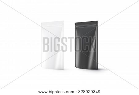 Blank Blank And White Plastic Zipper Pouch Mockup Stand, 3d Rendering. Empty Vacuum Poch With Snack