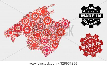 Mosaic Technical Mallorca Map And Textured Stamp. Vector Geographic Abstraction In Red Colors. Mosai