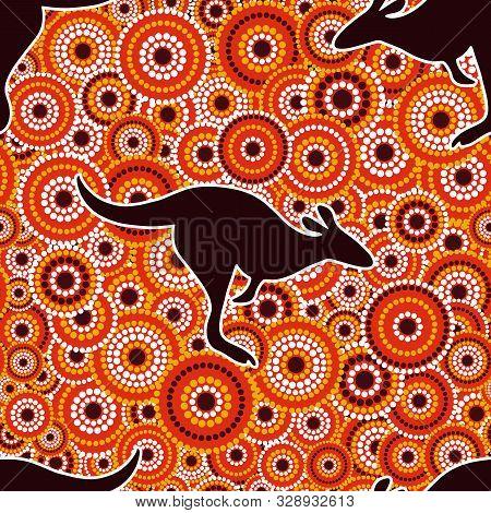 Australian Aboriginal Art Seamless Vector Pattern With Dotted Circles And Kangaroo