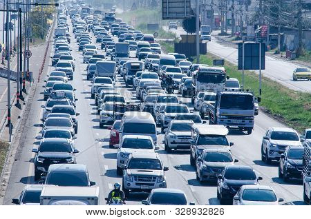 Samut Sakhon Thailand - April 2019 : Cars Stands In Traffic Jam At Afternoon At Rama Ii Road On Apri