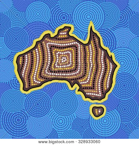 Australian Aboriginal Art Seamless Vector Pattern With Dotted Circles, Australia Map And Crooked Str
