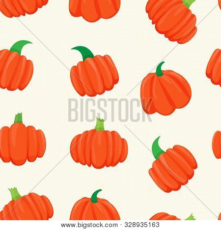 Seamless Pattern With Bright Pumpkins On White Background.  For Fall Decoration, Autumn Fest Invitat