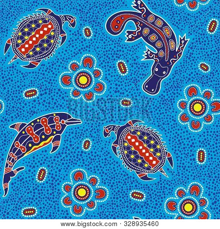 Australian Aboriginal Art Seamless Vector Pattern With Dolphin, Turtle, Platypus And Other Dotted Ty