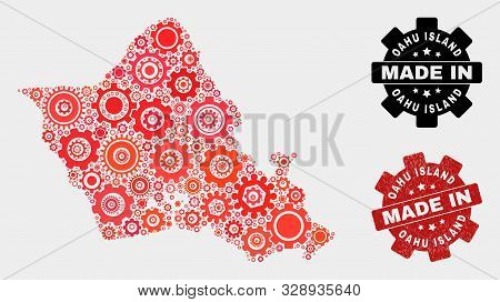 Mosaic Technical Oahu Island Map And Scratched Stamp. Vector Geographic Abstraction In Red Colors. M