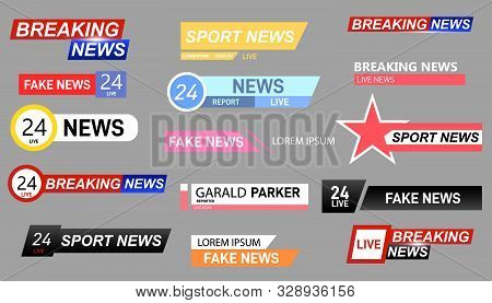 Tv News Bars Set Vector. Streaming Video News Sign. Breaking, Fake And Sport News Screen Header Vect