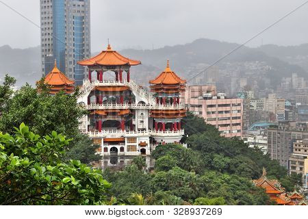Keelung, Taiwan - Urban Cityscape With Zhupu Altar.