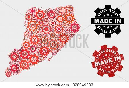 Mosaic Industrial Staten Island Map And Grunge Stamp. Vector Geographic Abstraction In Red Colors. M