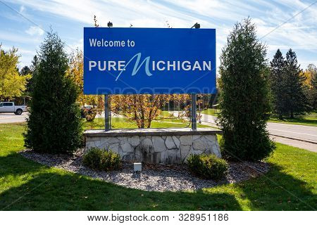 Ironwood, Michigan - October 18, 2019: Welcome To Pure Michigan Sign On The Mi / Wisconsin Border In