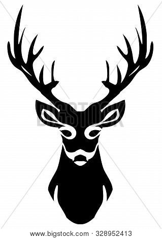 Vector Illustration Of A Deer Head Silhouette.