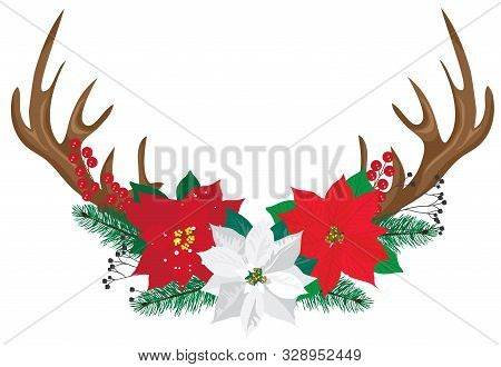 Vector Illustration Of Deer Antlers With Poinsettias. Christmas Antlers.