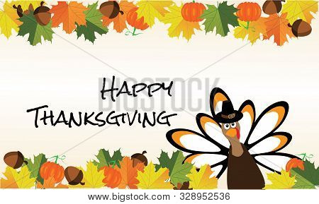 Vector Illustration Of A Thanksgiving Card With Fall Leaves.