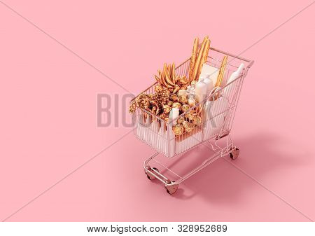 Shopping Cart With Gold Products And White Goods On Pink Background. 3d Illustration.
