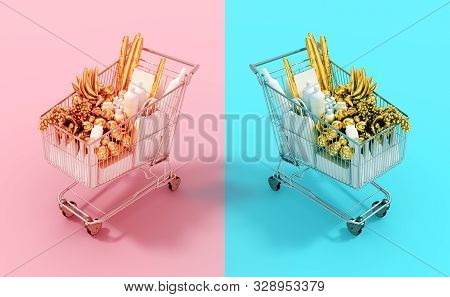 Shopping Carts With Gold Food End White Goods On Pink And Cyan Backgrounds. 3d Illustration.