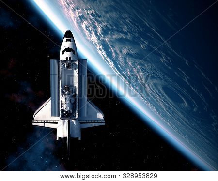 Space Shuttle On Background Of The Big Hurricane. 3d Illustration.