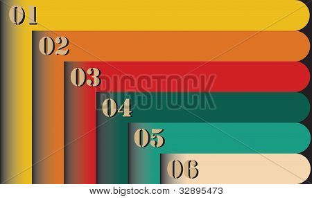 Group Of Colorful Retro Style Six Numbered Labels