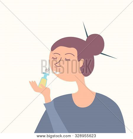 Woman Smelling Essential Oil. Aromatherapy. Incenses. Sandalwood. Spa Treatment. Cosmetology. Feng S