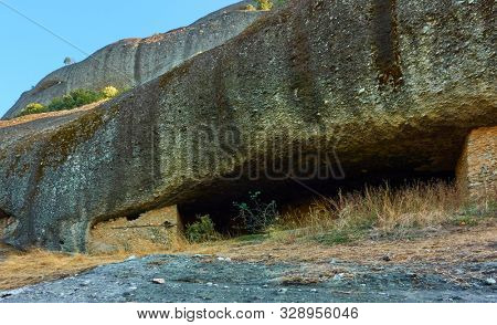 Caves of ancient hermits in Meteora near Kastraki village, Greece