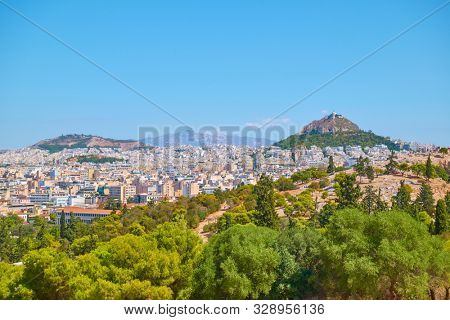 Panoramia of Athens city with Mount Lycabettus, Greece