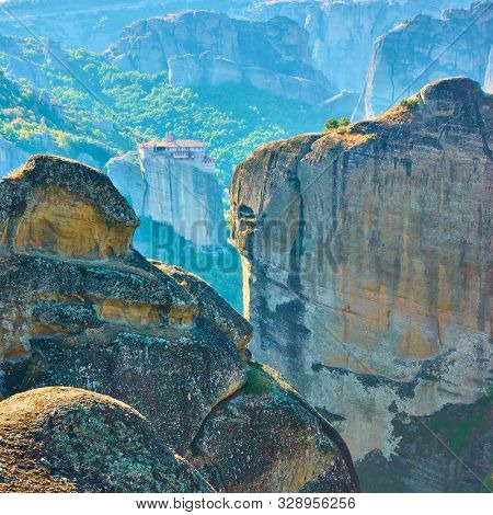 Rocks and The Monastery of Rousanou in Meteora, Greece