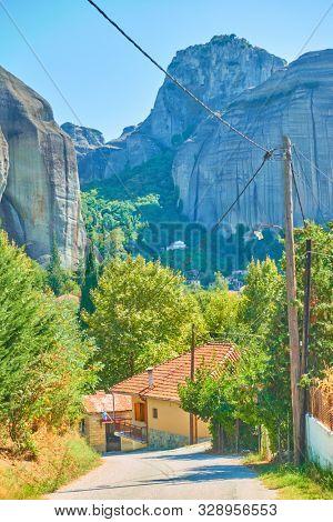 Kastraki village at the foot of Meteora rocks, Kalambaka, Greece