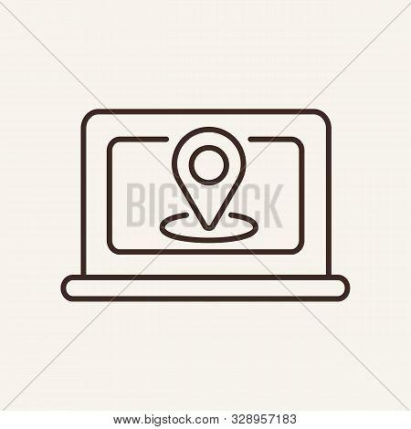 Laptop Navigation Line Icon. Laptop, Location Point, Map. Communication Service Concept. Vector Illu