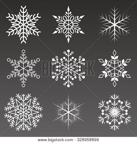 Snowflakes Collection Isolated On Black Background. Flat Snow Icons, Silhouette. Element For Christm