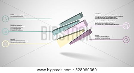 3D Illustration Infographic Template With Embossed Cube Randomly Divided To Five Moved Parts Askew A