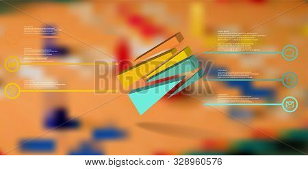 3d Illustration Infographic Template. The Embossed Cube Is Randomly Divided To Six Shifted Color Par