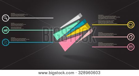 3D Illustration Infographic Template With Embossed Cube Randomly Divided To Six Moved Parts Askew Ar