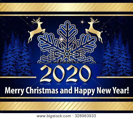 Merry Christmas And Happy New Year 2020 - Classic Greeting Card With Golden Text On A Bright Blue Ba
