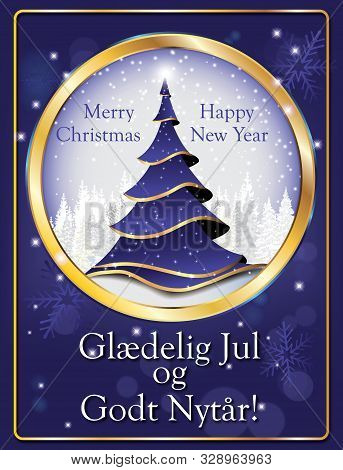 Blue Greeting Card With Text In English And Danish. Text Translation: Merry Christmas And Happy New