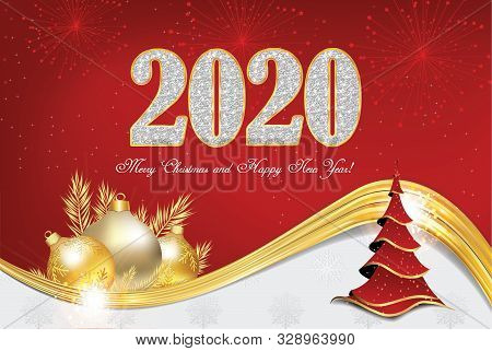 Merry Christmas And Happy New Year 2020! - Greeting Card With Classic Design - A Christmas Tree And