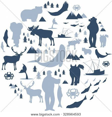 North Polar Circle Icons And Images. Animals, Eskimos, Forests, Mountains, Hunters, Boats, Fish And