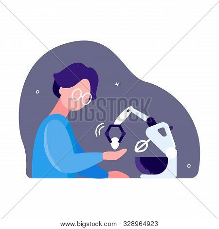 Development Of New Electrical Appliances. Inventor Activity Concept. A Man Is Testing Kitchen Mixer