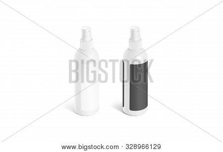 Blank Deodorant Bottle With Black And White Label Mockup Isolated