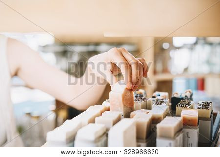 Woman With Cotton Bag Buying Personal Hygiene Items In Zero Waste Shop. Eco Organic Cosmetics. Girl