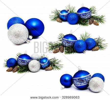 Collection Of Photos Christmas Decoration Blue And Silver Balls With Fir Cones And Fir Tree Branches