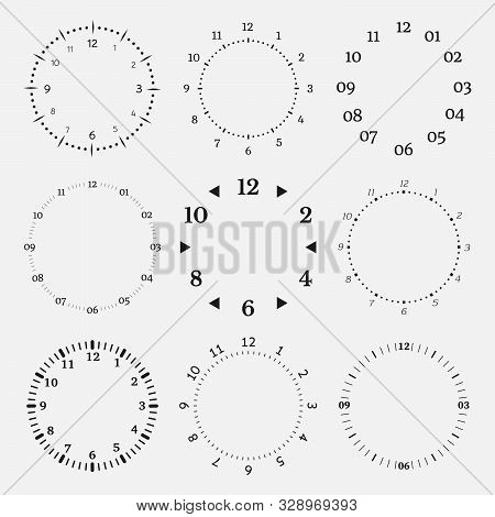 Clock Faces On A White Background. Set Of Nine 12 Hours Watch Dials With Round Scale. Vector Illustr