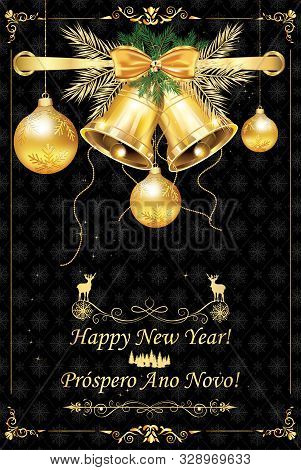 Greeting Card With Message In English And Portuguese - Happy New Year.
