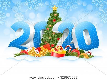 New Year 2020. Three Dimensional Digits 2020 And Decorated Christmas Tree, Gifts, Spruce Branches, C