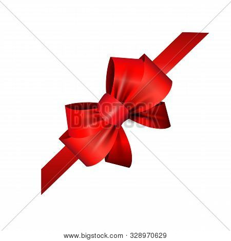 Corner Red Ribbon And Bow Vector Illustration